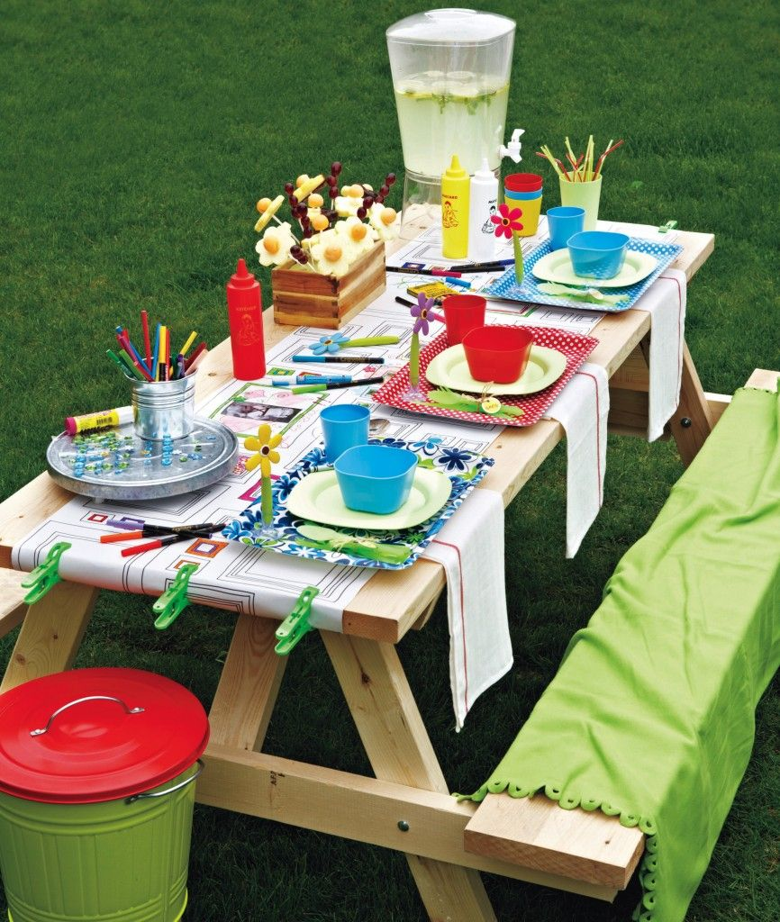 Colorful picnic table