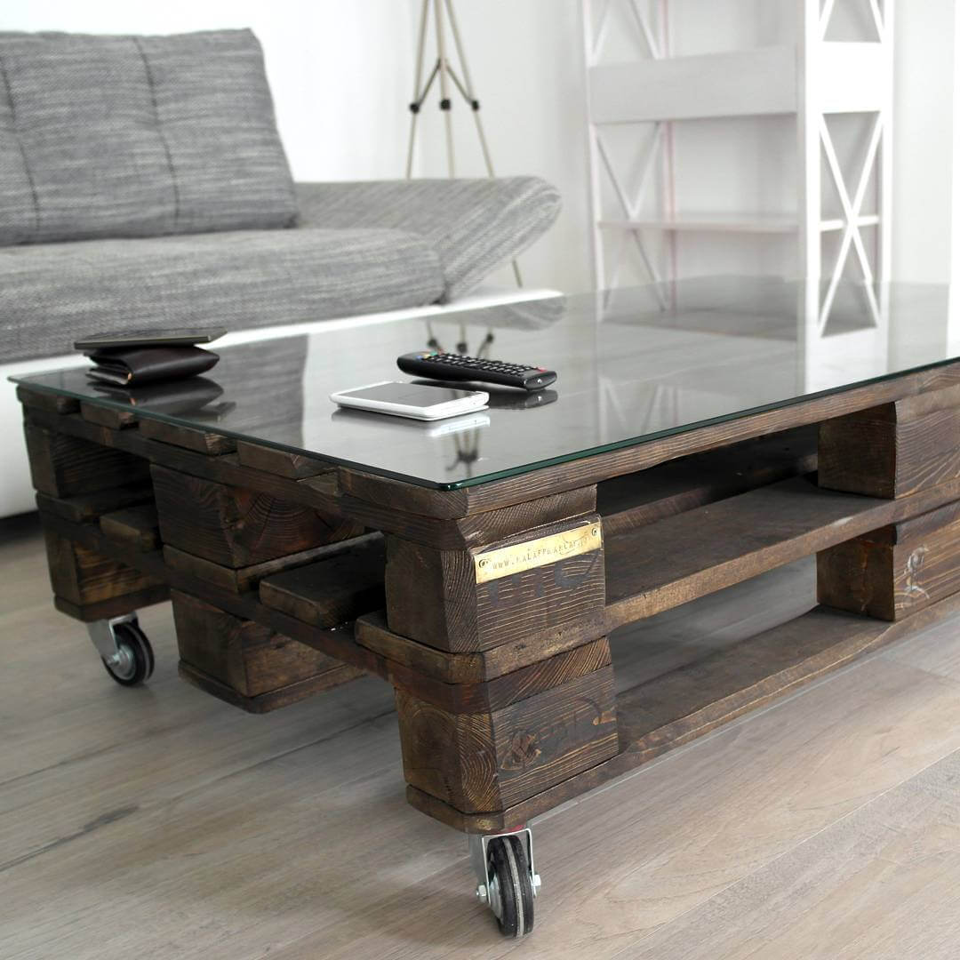 Wooden pallet modern glass top coffee table