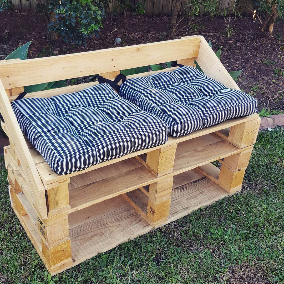 A chair set made from wooden pallets