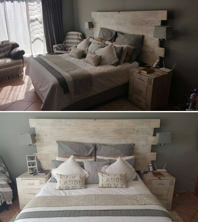 Illuminate your bed with wooden pallets