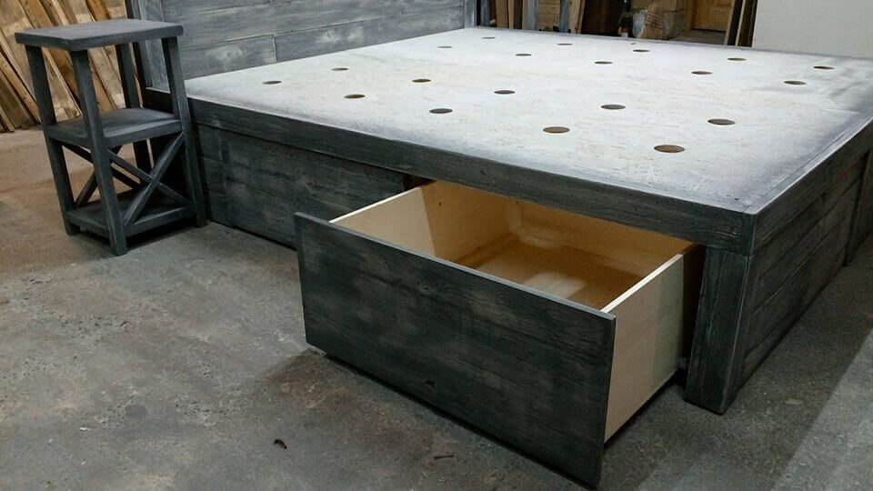 Beds with wooden pallet storage will be helpful to place clothes