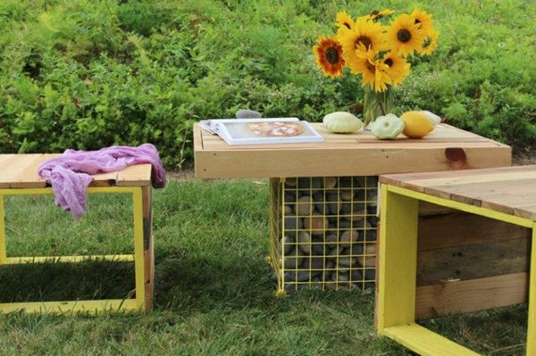 Wood Bench & Gabion Table made from Wooden Pallets