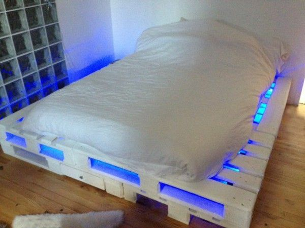 Wooden Pallet Bed that Glows
