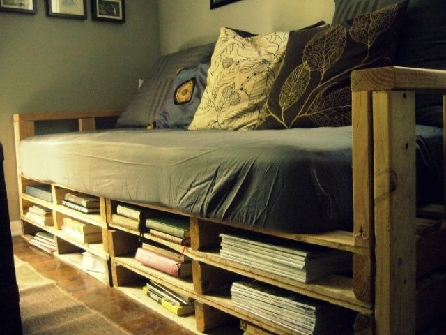 Single Pallet Bed with Storage Ideas