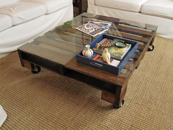 Modern top glass table made of wooden pallet Ideas