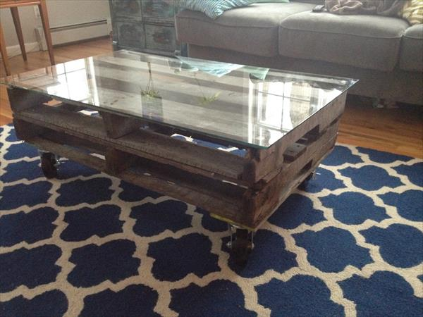 Modern top glass table made of wooden pallet