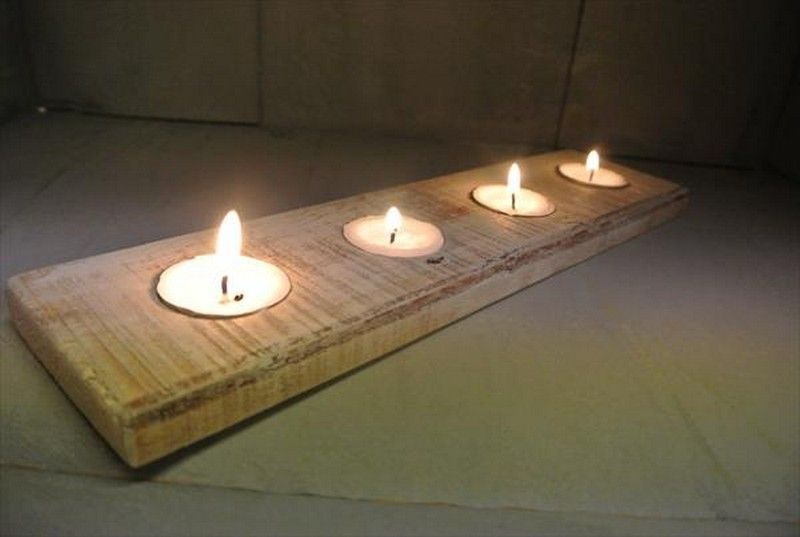 Rustic Pallet Candle Holder
