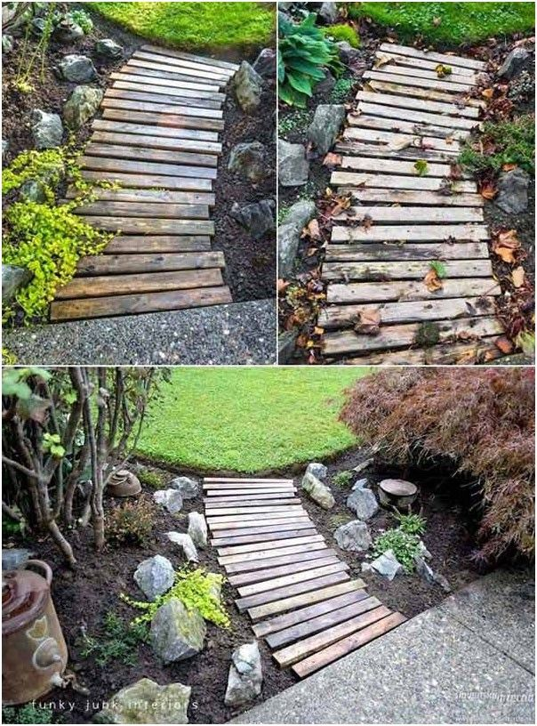 Use old wood from broken pallets to make a path