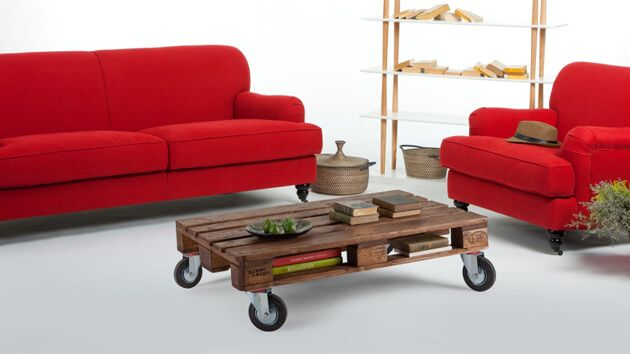 Pallet Moveable Coffee Table