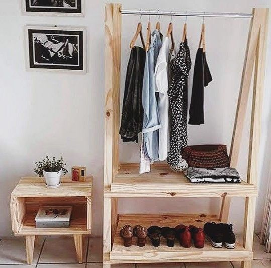 Pallet hanging clothes furniture
