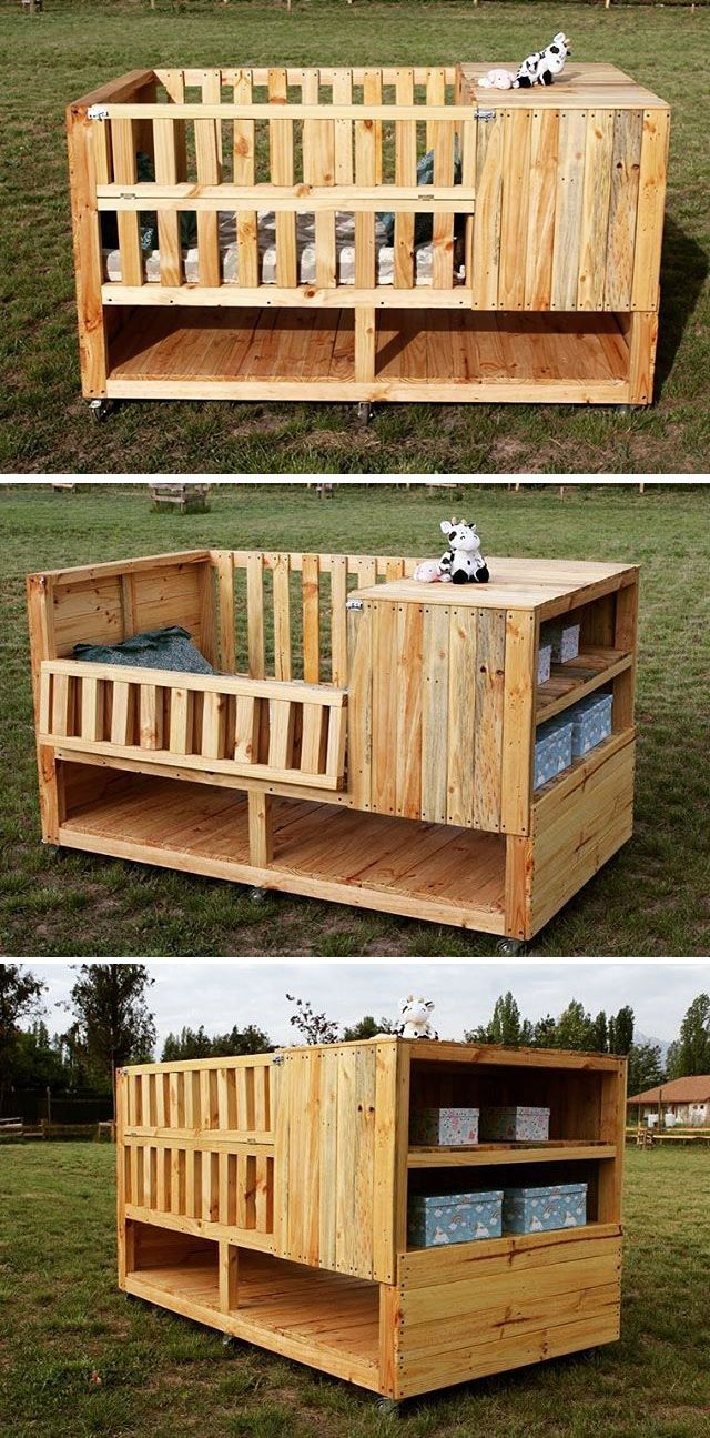 Pallet kid bed with storage space
