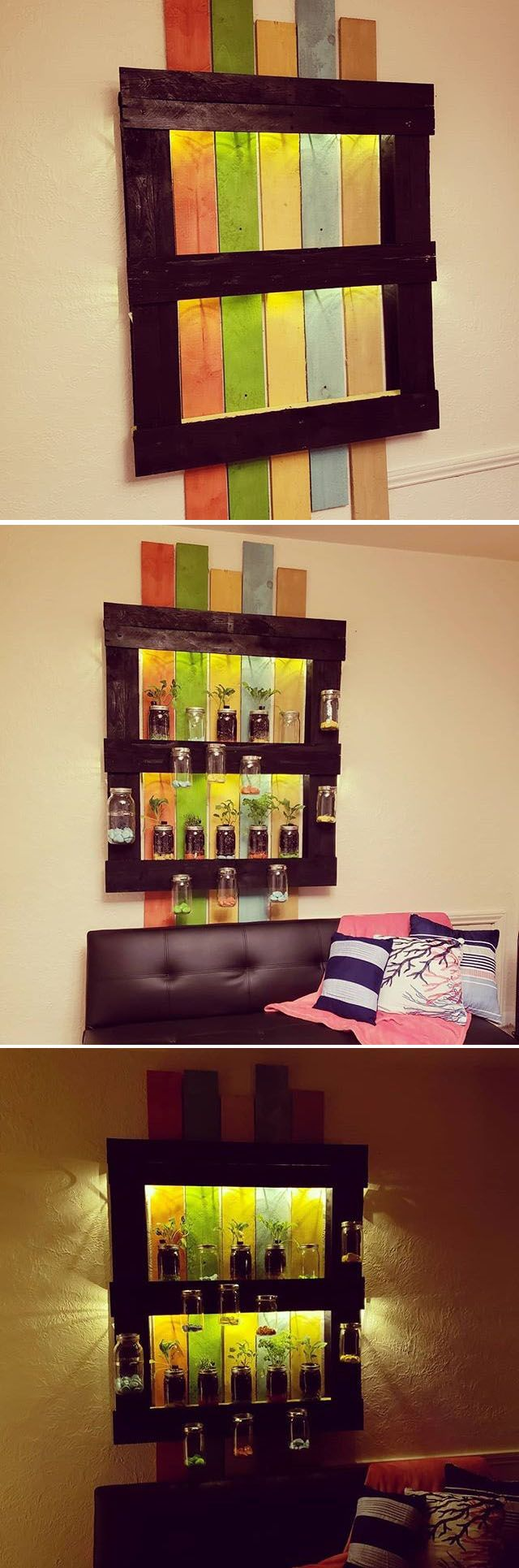 Pallet mason jar decor