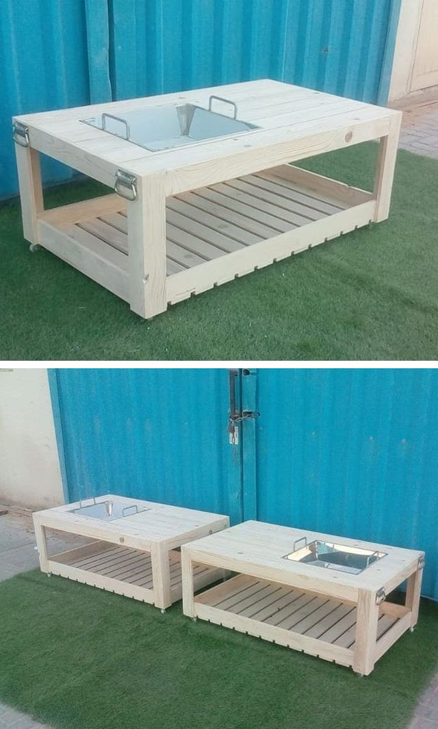 Pallet outdoor table with cooler