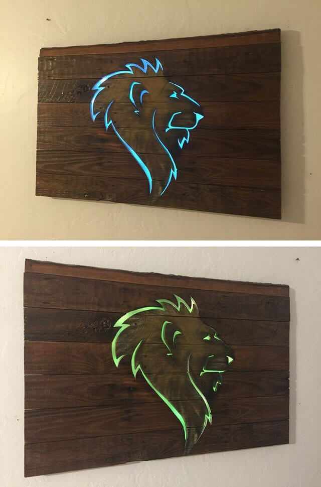 Pallet glowing lion art