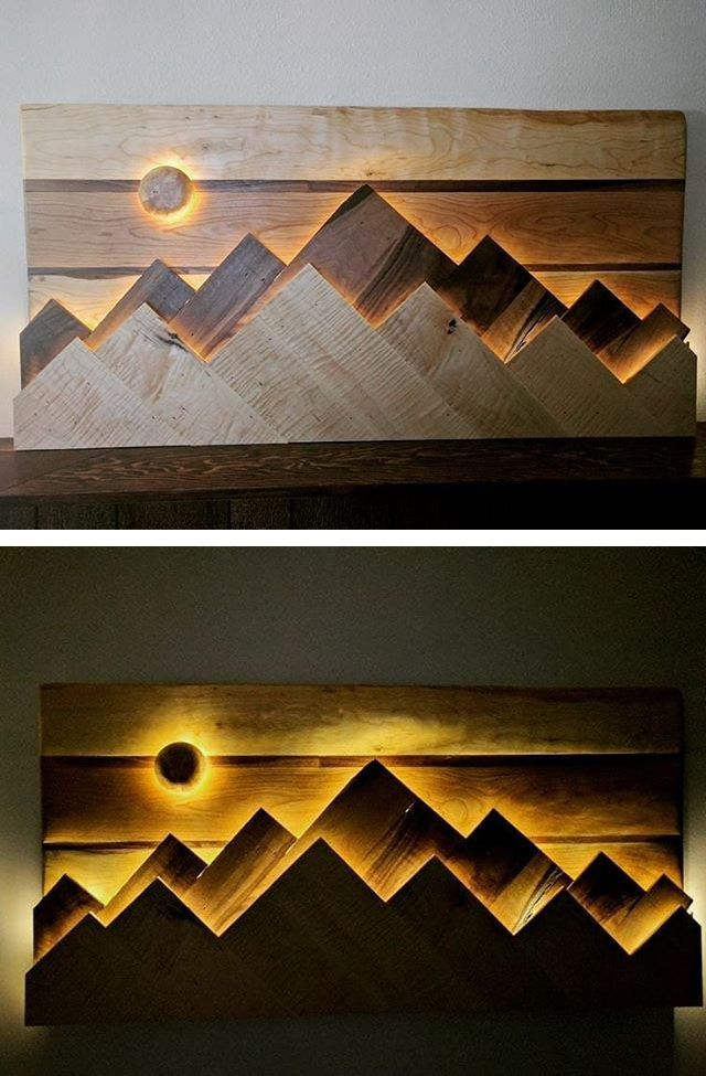 Pallet glowing mountain art