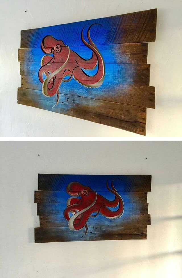 Pallet glowing octopus art