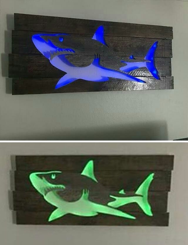 Pallet glowing shark art
