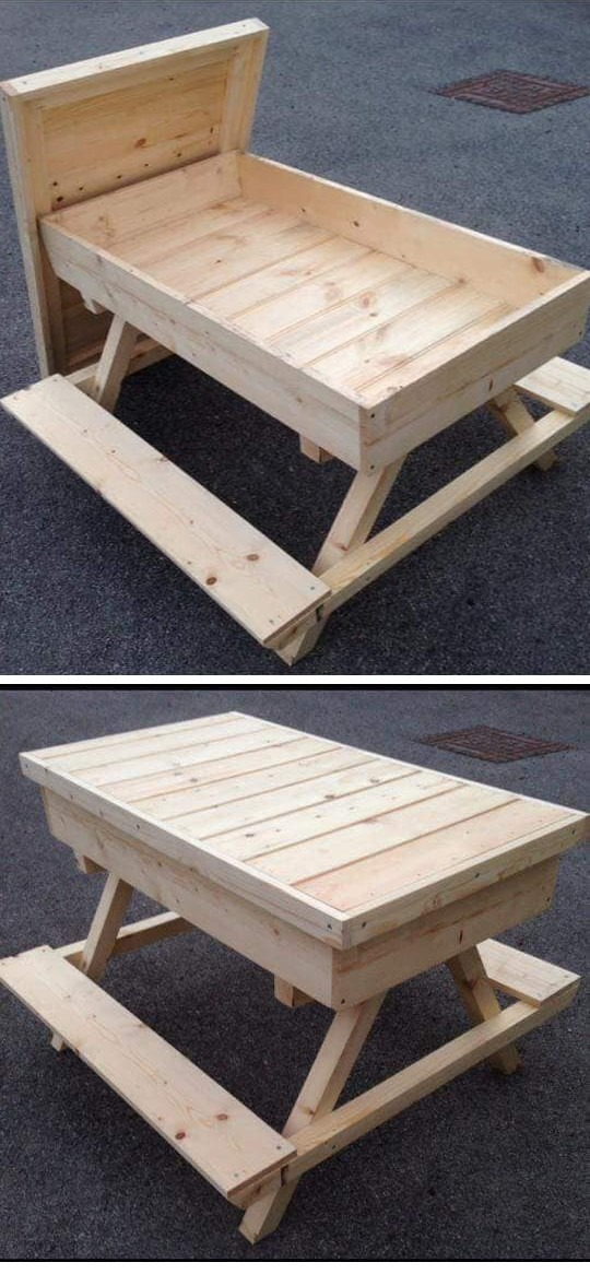 Pallet outdoor furniture bench