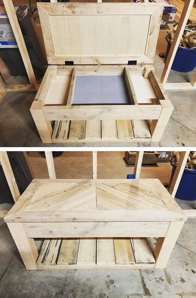 Pallet storage coffee table