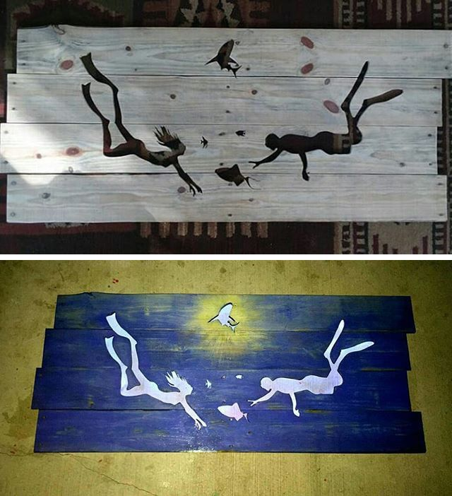 Pallet swimmers drawing art
