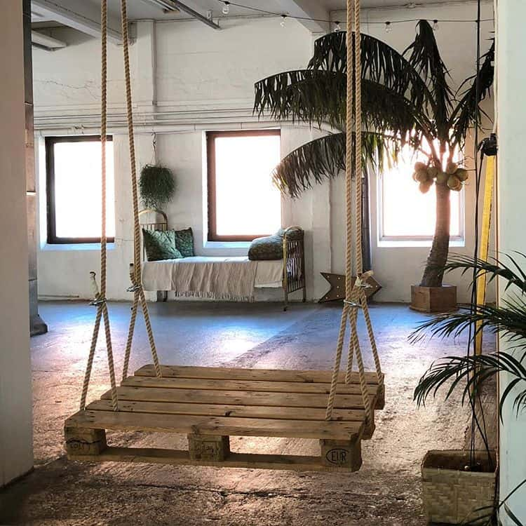 pallet swing ideas for indoor home