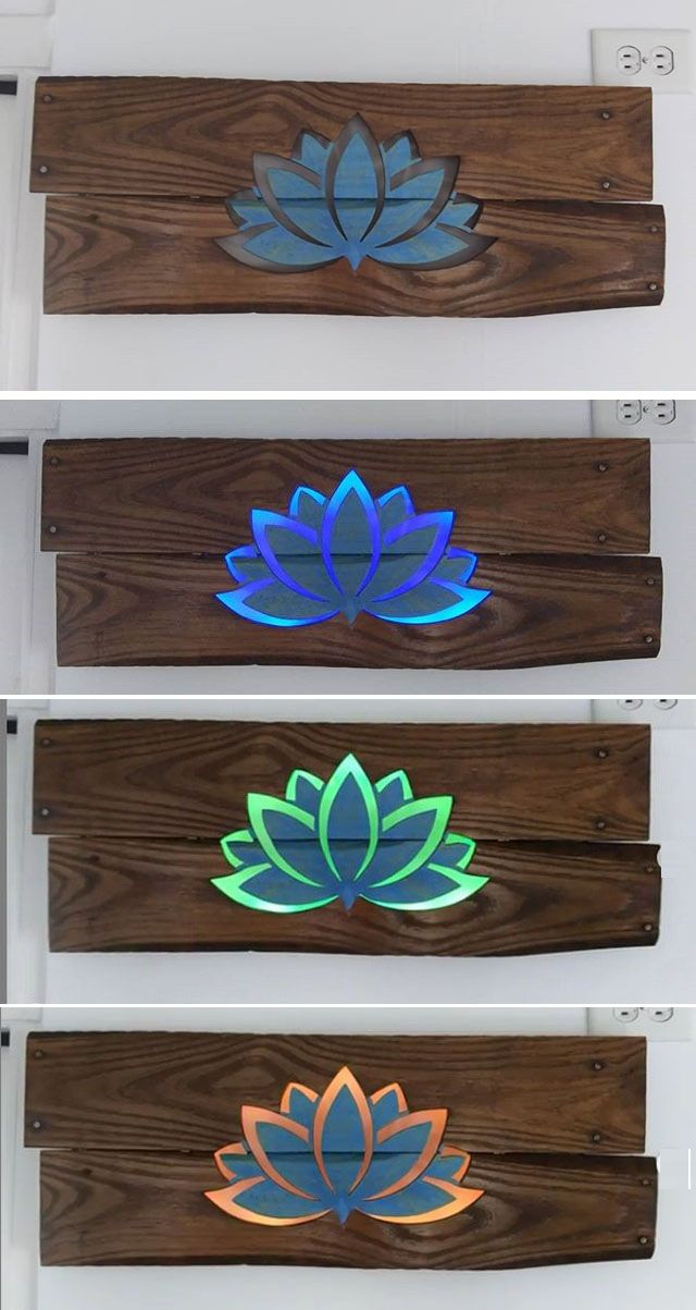 Pallet Glowing Flower Wall Art