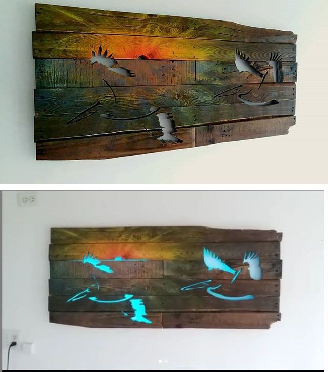 Pallet glowing birds wall shelf art
