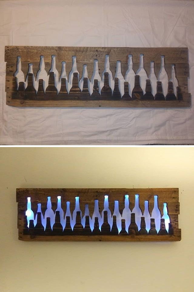 Pallet glowing bottle wall art