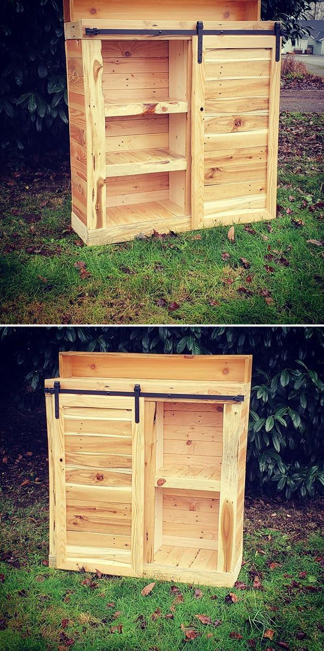 Pallet storage furniture cabinet projects