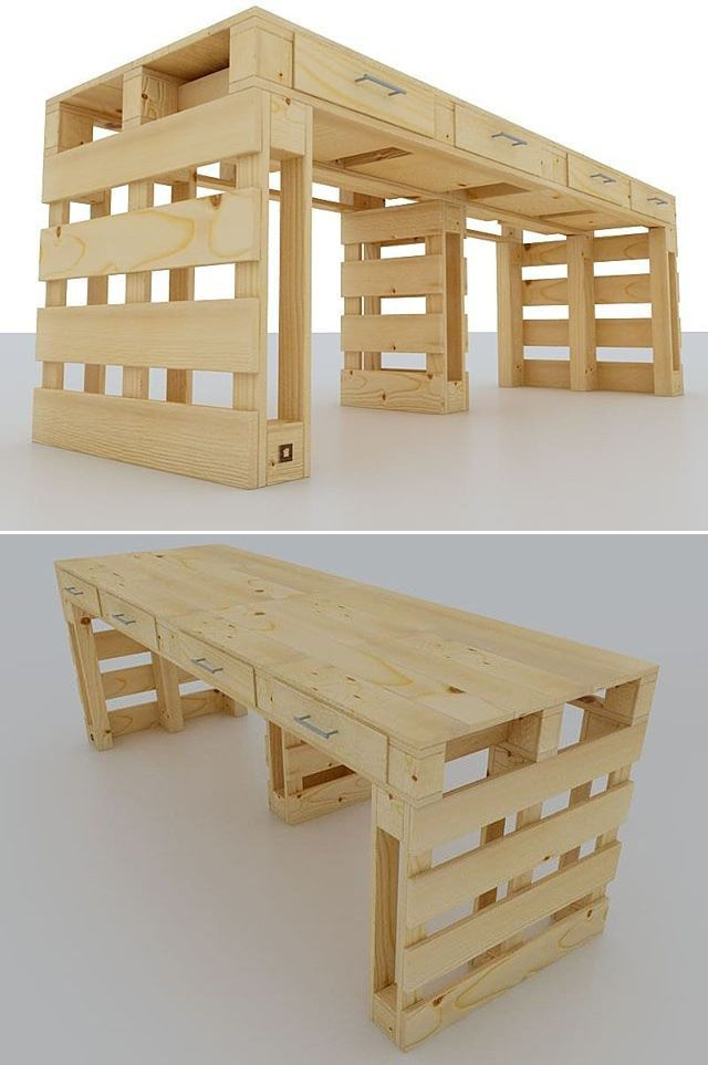 Pallet table with drawers ideas