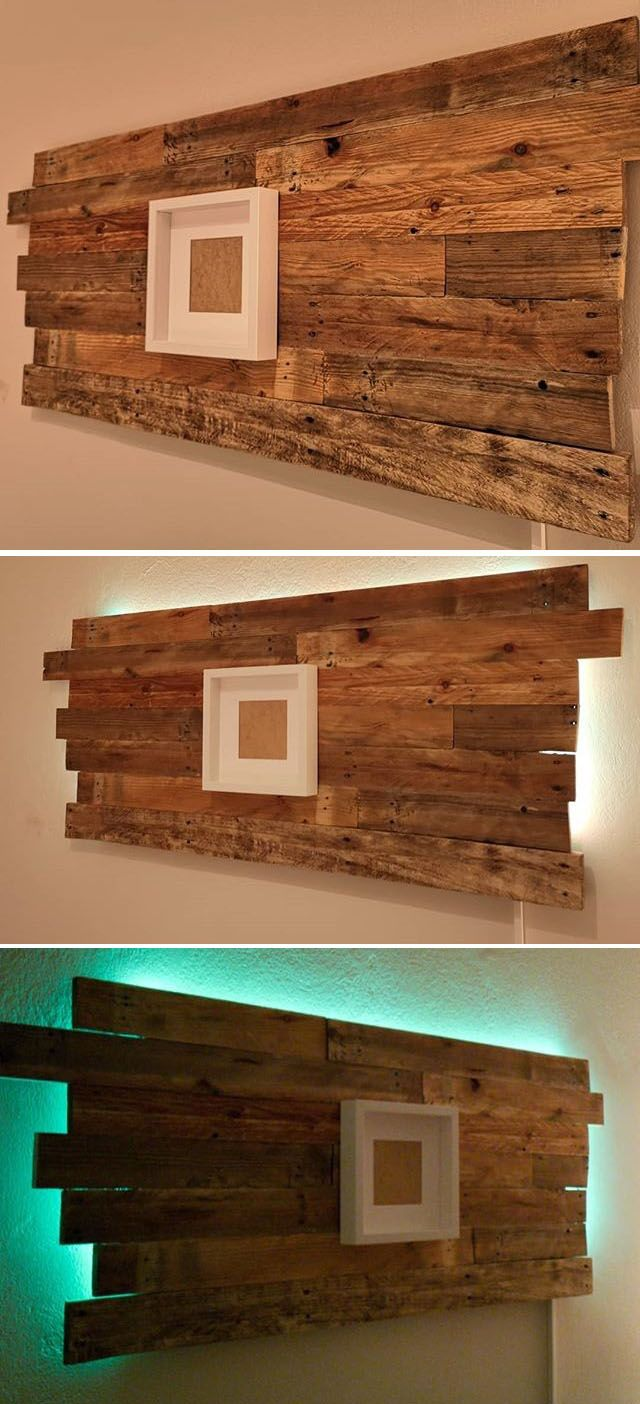 Pallet glowing shelf art