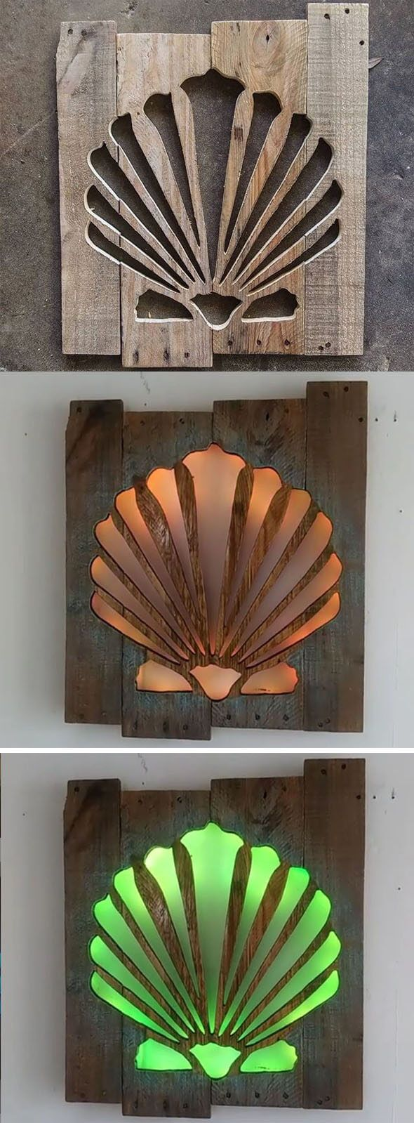 Pallet glowing shell art