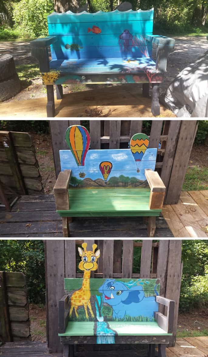 art on pallet bench table for kids