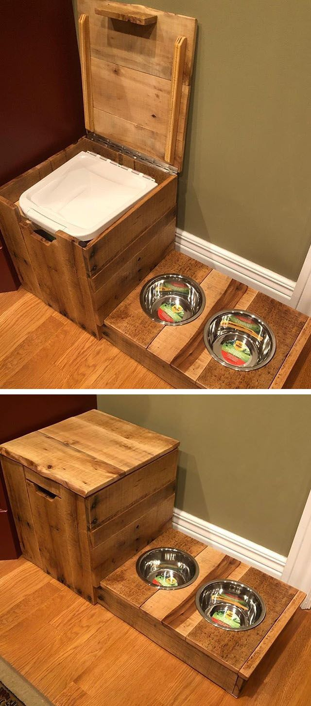 Pallet storage box with dog feeders ideas