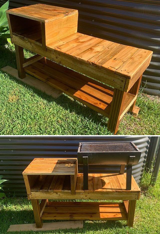 Pallet outdoor cooking table ideas