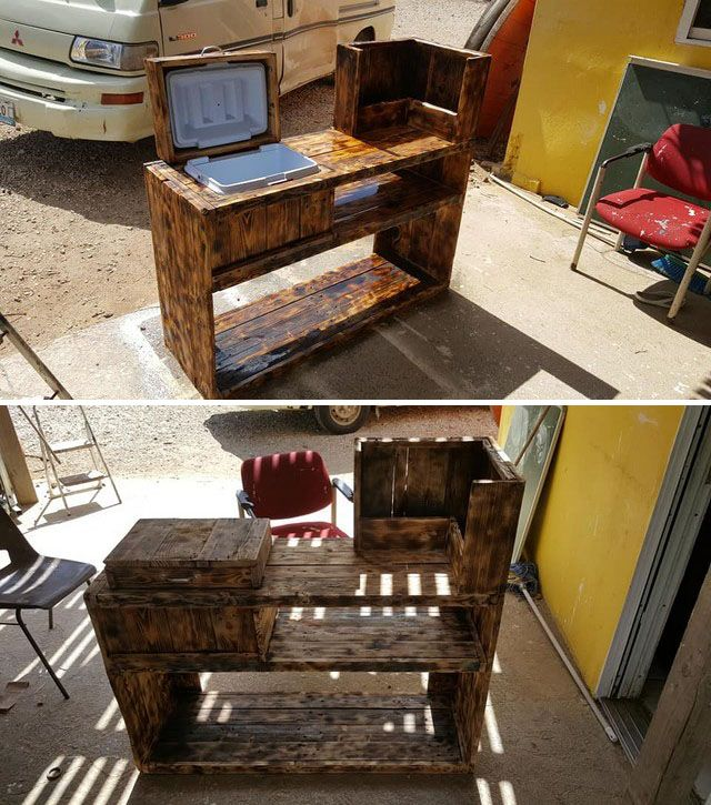 Pallet table with cooler
