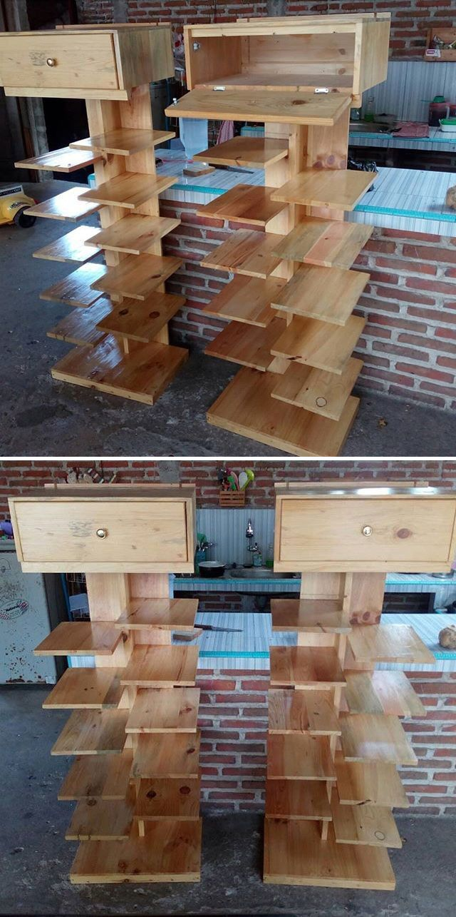 Pallet shelf with storage drawers projects