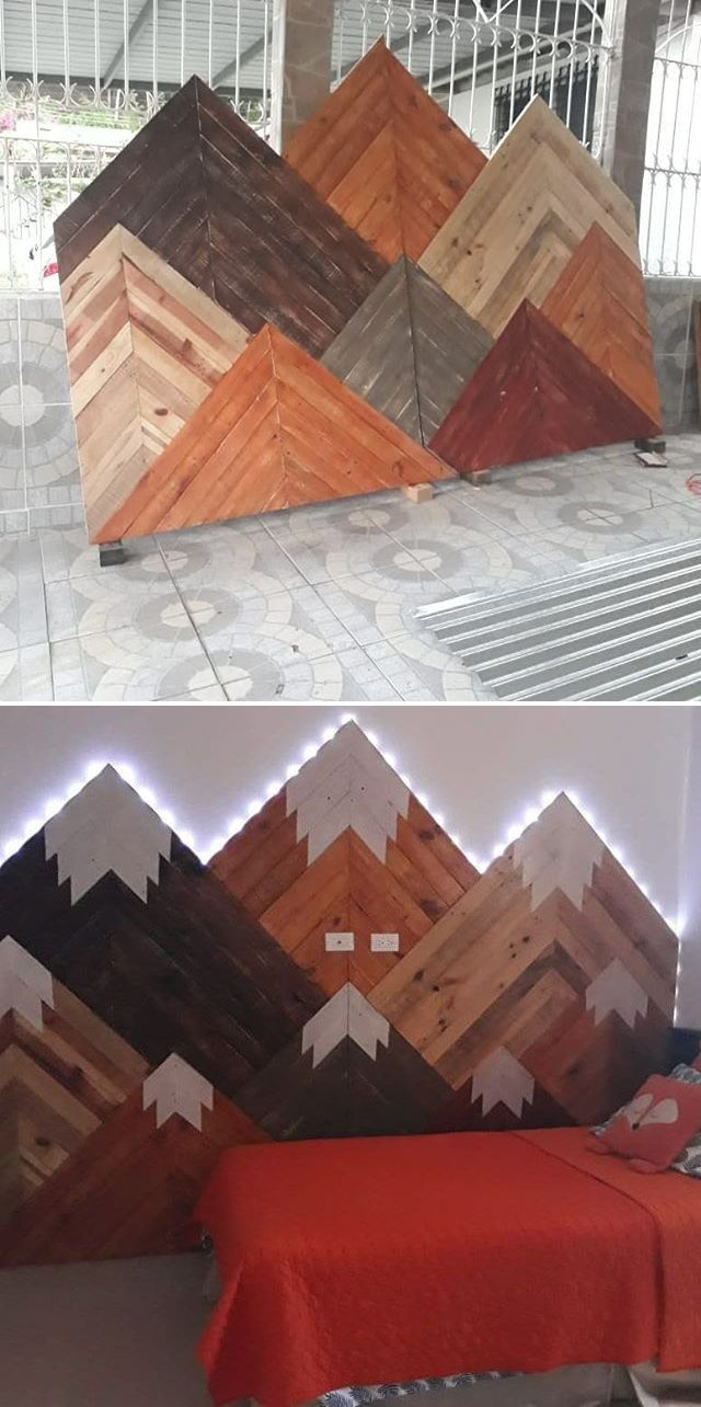 Pallet glowing mountain wall art ideas
