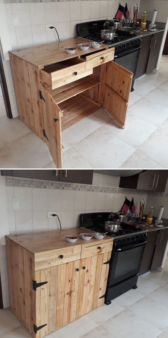 Pallet kitchen storage cabinets