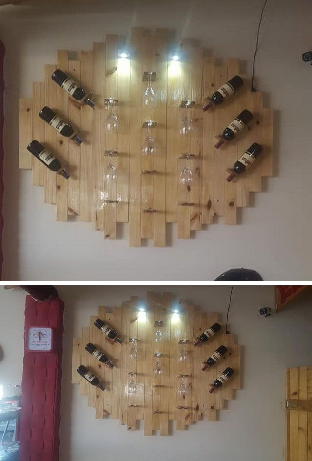 Pallet wall shelf wine rack
