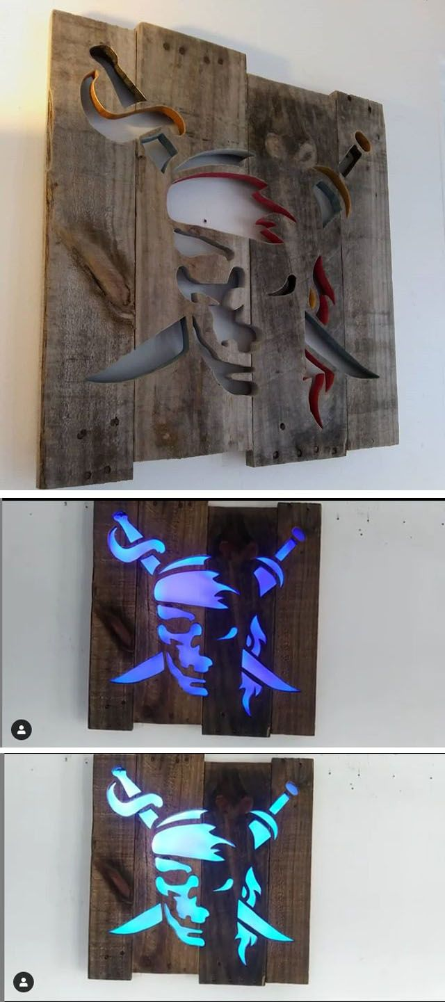 Pallet Glowing pirates wall art ideas