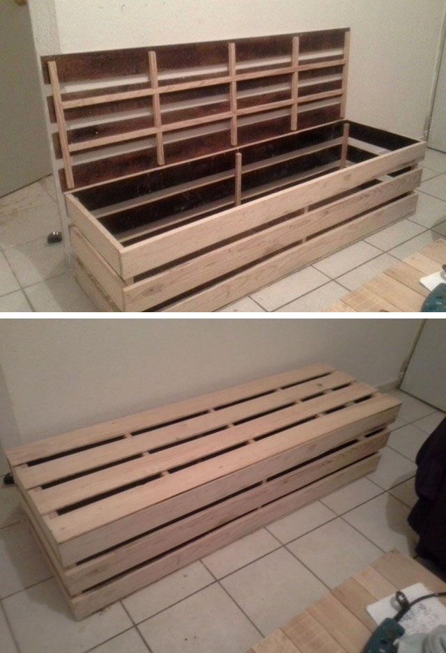 Pallet storage bench ideas