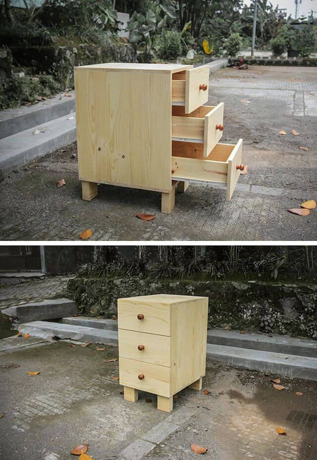 pallet table projects with drawer