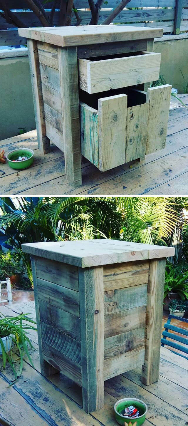 pallet storage table with drawer