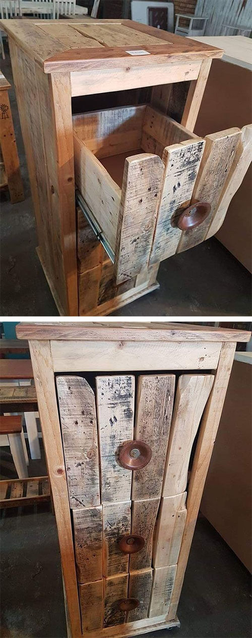 pallet drawer ideas with small table