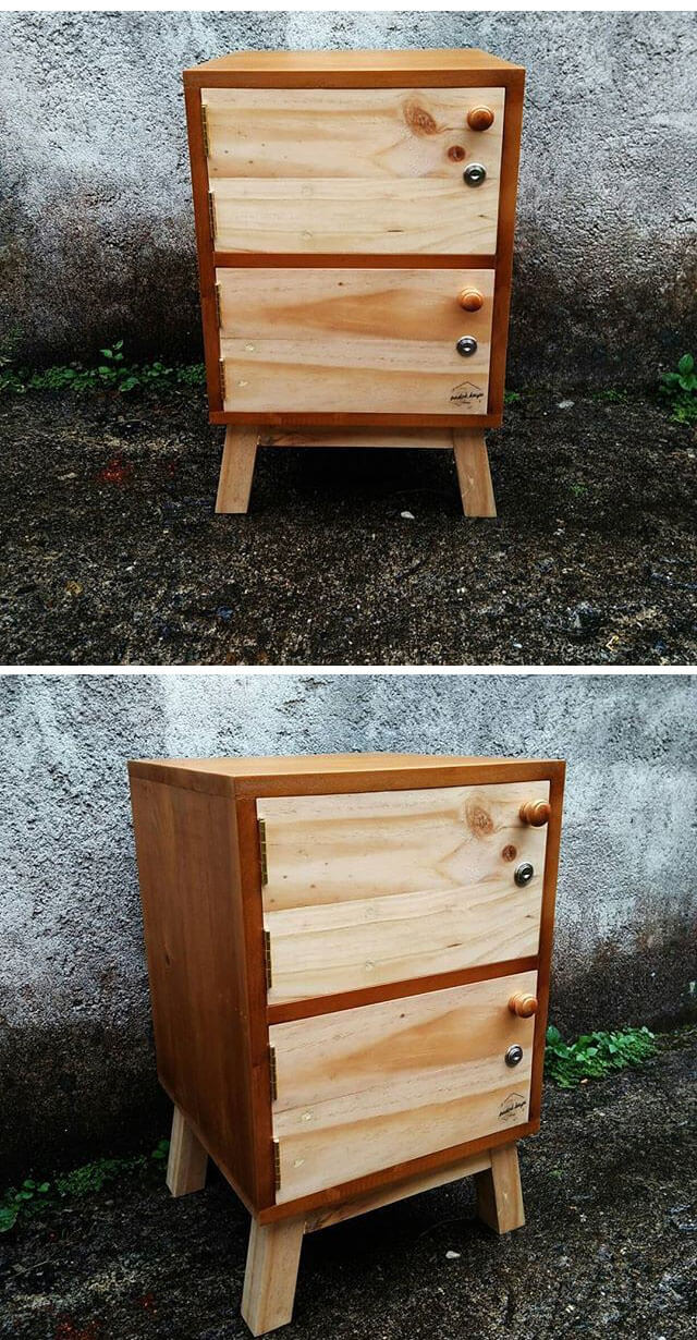 pallet drawer with bed side table