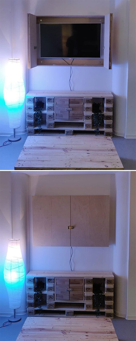 pallet tv shelf with drawer and storage table