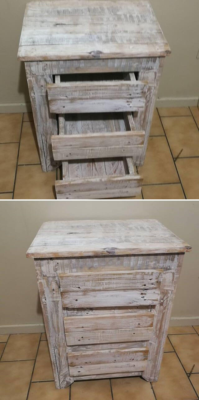 pallet side table drawer